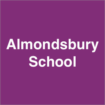Almondsbury School Logo purple white