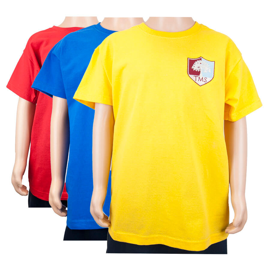 Tockington Manor School House T-shirt Red Yellow Blue