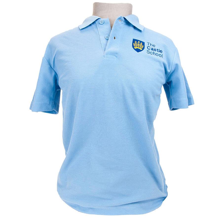 Castle School Adult Sky blue polo shirt